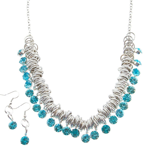 Wholesale inch Silver toned round ringed necklace dangling aqua rhinestones
