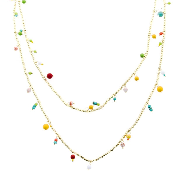 """30"""" inch dual strand multi-colored beaded necklace."""