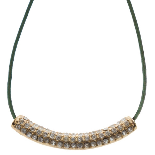 "16"" Green cord necklace with a gold toned crystal rhinestone focal"