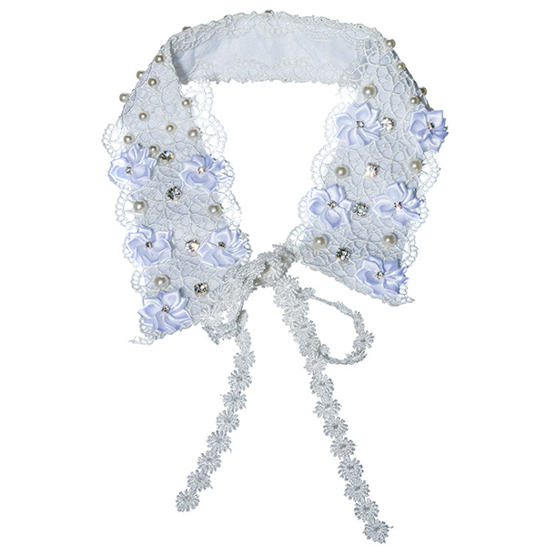 "White ribbon ""Fashion Collar Necklace"" Add a trendy touch to a simple top with this statement piece. It is a white lace collar with embellished white satin rosettes topped with pearls and rhinestones."