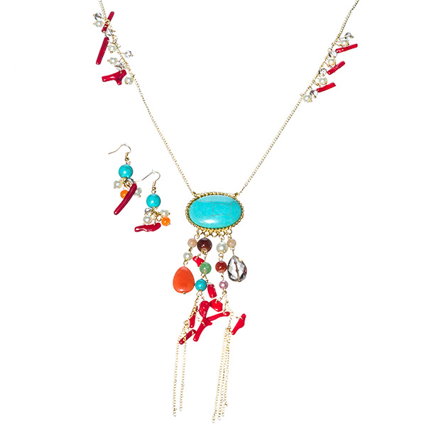 "27"" gold tone necklace with multi color beads and a large 1""x 1 1/2"" oval turquoise color stone as the focal point.  Hangs approx 33"" total.  Comes with matching 2"" earrings"