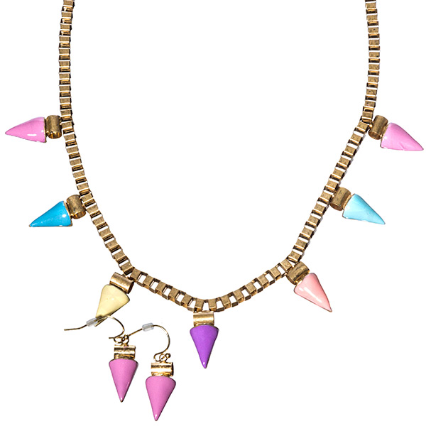 "18"" antique gold tone chain necklace set with multicolor enamel triangular geometric shapes"