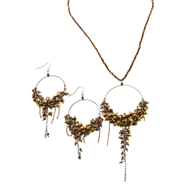 "18"" Brown and gold tone bead necklace set with large 2"" hoops featuring clusters of beads and a 3"" tassel."