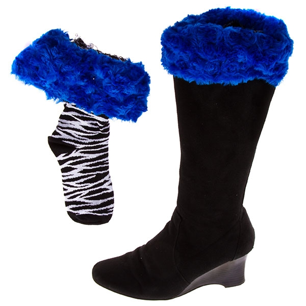 Wholesale bootleggers black zebra print boot socks topped royal blue fur cuff