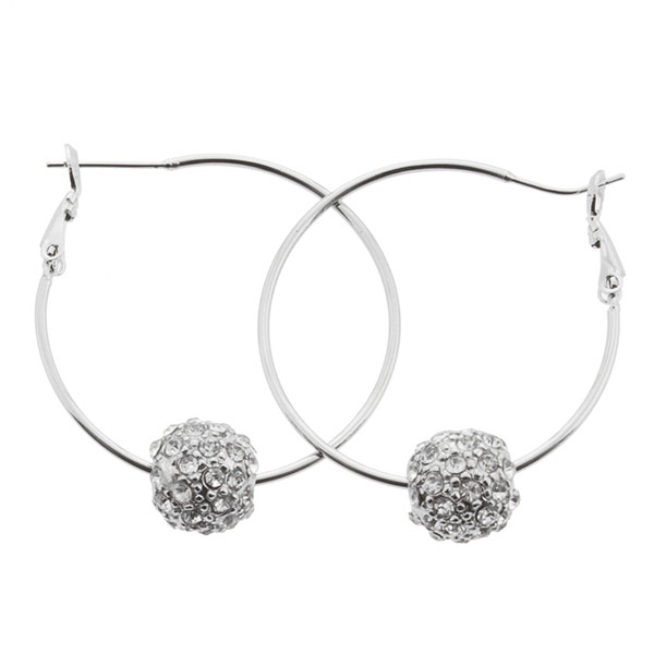 Wholesale hoop silver earrings inches diameter silver globe clear rhinestones