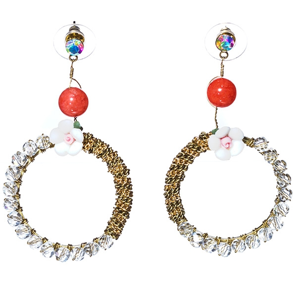 """Designer hoop style post earrings handmade featuring a flower, woven pattern and clear, coral and AB beads. Approx. 2-1/4""""."""