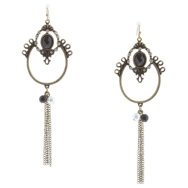 "4 1/2"" Antique gold fishhook style earrings featuring a black faceted cabochon and crystal clear rhinestone decorated geometric design accented by a black and pearl tone beaded chain tassel."