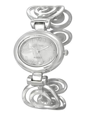 Polished Silver Tone Spiral Design Cuff Bangle Watch. Mother of Pearl Dial. Polished Silver Tone Numbers and 3 Hands. (Watch head is approx. 1.51 in L x 1.29 in W. Dial is approx. 0.72 in L x 0.91 in W)