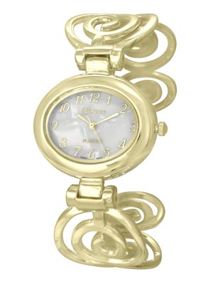 Polished Gold Tone Spiral Design Cuff Bangle Watch. Mother of Pearl Dial. Polished Gold Tone Numbers and 3 Hands. (Watch head is approx. 1.51 in L x 1.29 in W. Dial is approx. 0.72 in L x 0.91 in W)