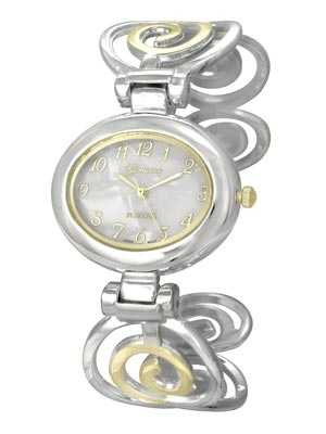 Polished Gold and Silver Tone Spiral Design Cuff Bangle Watch. Mother of Pearl Dial. Polished Gold Tone Numbers and 3 Hands. (Watch head is approx. 1.51 in L x 1.29 in W. Dial is approx. 0.72 in L x 0.91 in W)