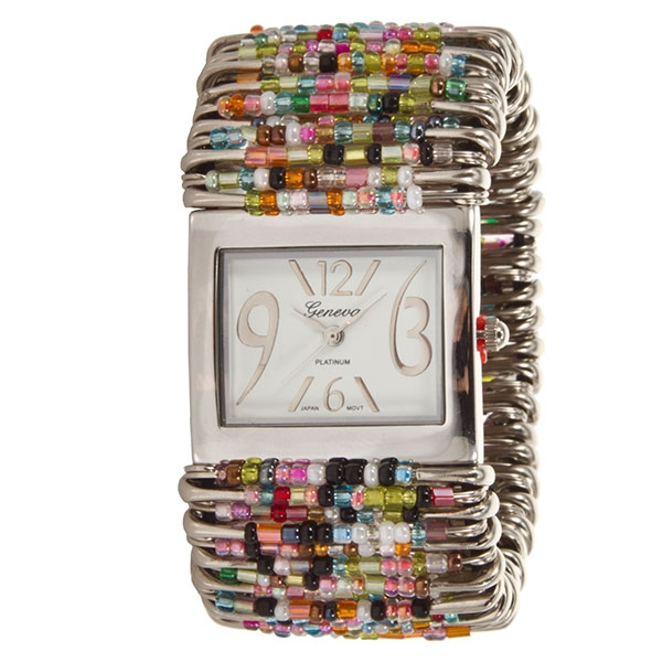 Safety pin and multi-colored stretch bead watch with a whimsical face framed with a silver tone finish.