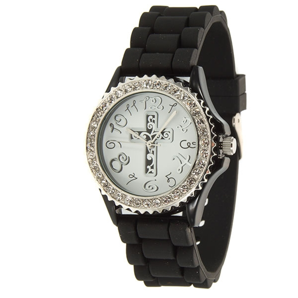 Black silicone watch with standard size face featuring a cross motif and surrounded by crystal rhinestones.