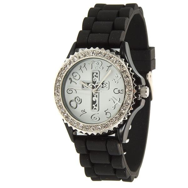Wholesale black silicone watch standard cross motif crystal rhinestones