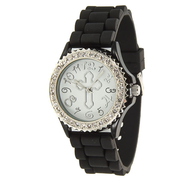 Black silicone watch- 1.75 inch face - featuring a cross design on center and surrounded by crystal rhinestones.