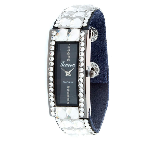 Wholesale black faux leather snap band watch assorted sized clear czs surroundin