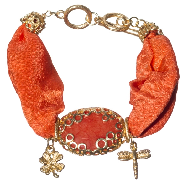 Striking tangerine, satin ribbon, charm, gold tone toggle bracelet with charms of butterfly and insects and featuring tangerine aventurine stone focal.