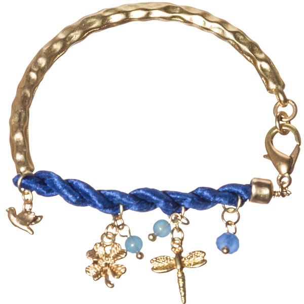 Unique bracelet which is hammered gold tone and featuring royal blue twisted satin ribbon with dangling assorted charms of bird, dragonfly, butterfly in gold tone, round blue beads.