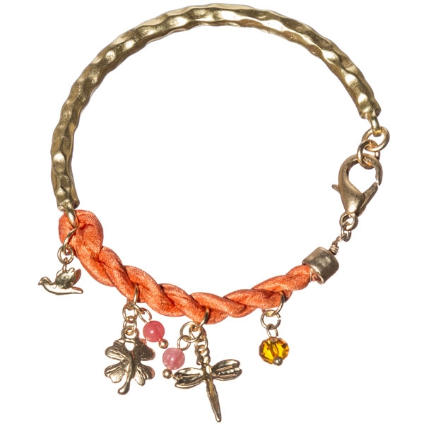Unique bracelet which is hammered gold tone and featuring tangerine twisted satin ribbon with dangling assorted charms of bird, dragonfly, butterfly in gold tone, round tangerine beads.