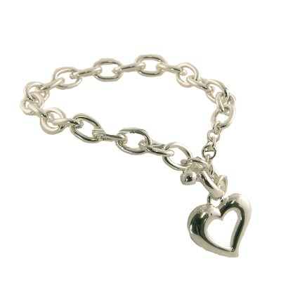 Wholesale polished silver toggle bracelet heart charm