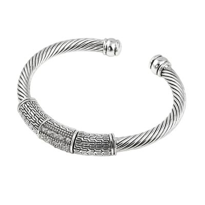 Designer Inspired Fashion Cuff Bracelet Polished Silver Tone With Twisted Cable And Woven Chain Design And Three Rows Of 2 Mm Clear Round Rhinestones Slightly Flexible Approx 0 21 In Diameter 41382 Wholesale Fashion Jewelry