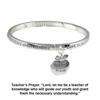 "Polished silver tone stretch bracelet featuring an apple shaped charm engraved ""Teacher's Prayer""."