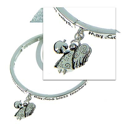 Polished Silver Tone Inspirational Bracelet for Teachers with Matching Bookmark. Angel Charm. Inscription Reads: God Bless Teachers, For They Take A Hand, Open A Mind, and Touch A Heart. Bookmark has Sparkling Silver Ribbon. Lead Compliant. (Bracelet is Approx. .2 in W)