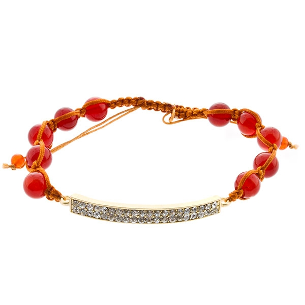 Adjustable burnt orange bracelet with red beads and matte gold focal made up of a double row of rhinestones