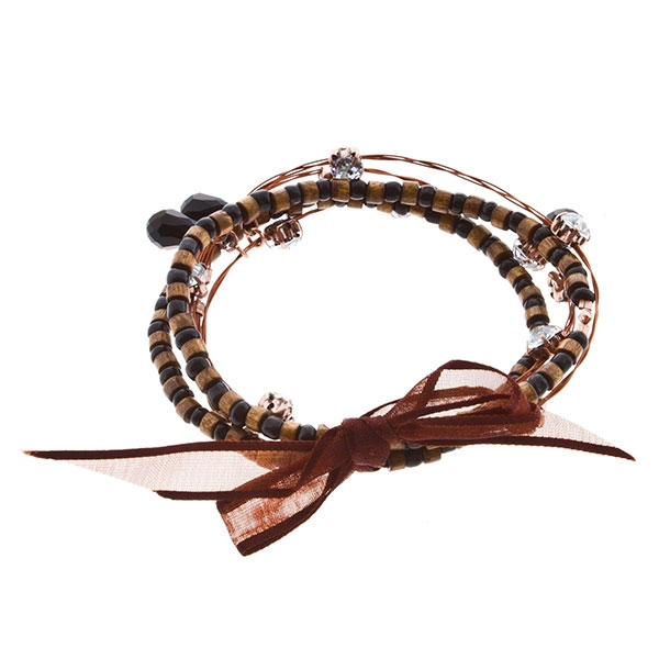 "7.5"" around black bead and wood with rhinestone 5 strand copper whimsical illusion bracelet"