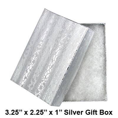 Silver Gift Box with Cotton Batting Insert. (Approx. 3.25 in x 2.25 in x 1 in).