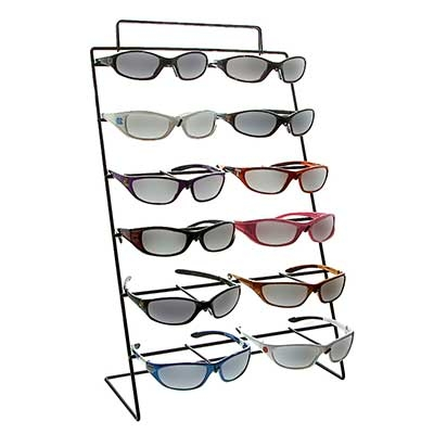 Black Metal Wire Sunglasses Display. Top Accepts Sign Insert. (Measures Approx. 21 in H x 12 in L x 6 in W)