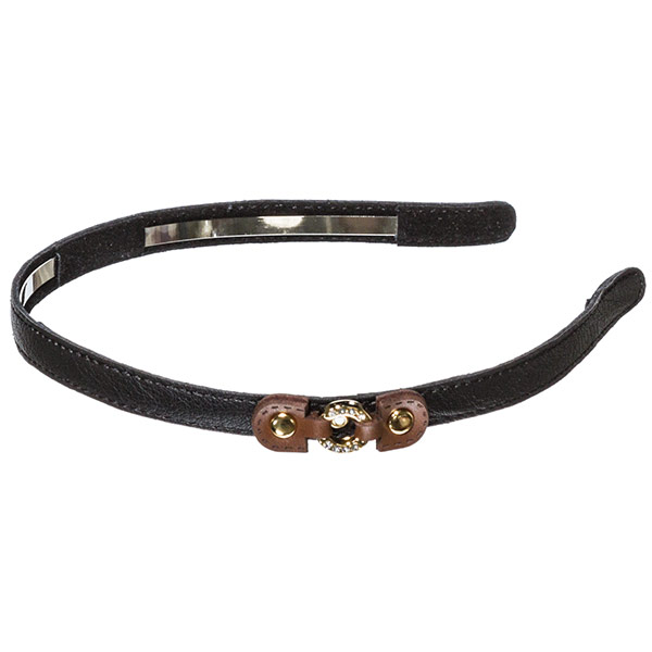 Black .5 inch leather covered metal headband with a small brown leather buckle with a small gold toned crystal rhinestone covered ring focal
