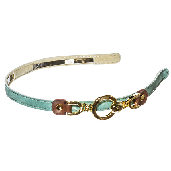 Mint green leather .5 inch metal headband with off centered brown buckle connecting gold toned ring design