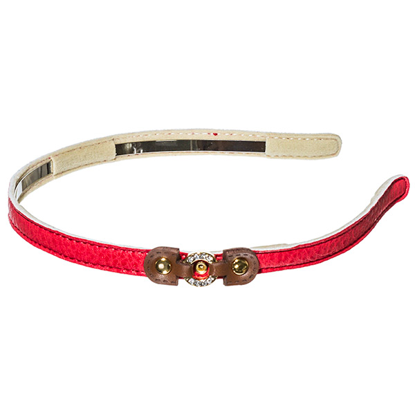 Red .5 inch leather covered metal headband with a small brown leather buckle with a small gold toned crystal rhinestone covered ring focal