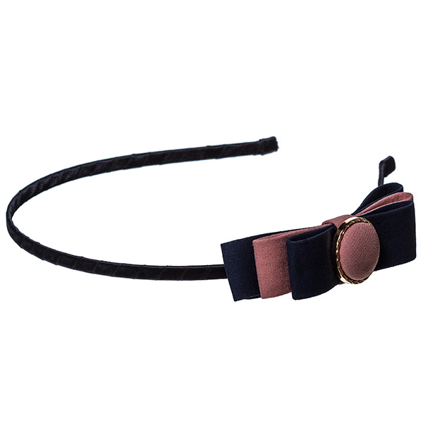 Black headband with a navy and mauve layered bow