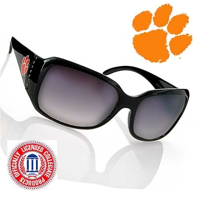 Black Fashion Frame Sunglasses with Faux Jewels. Clemson University Logo. Officially Licensed Collegiate Product.